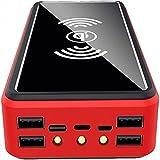 AEU Chargeur Solaire, 100000mAh Batterie Externe, Chargeur Solaire Portable sans Fil Qi, Haute Vitesse et Doubles entrées Batterie de Grande Capacité pour Smartphones,100000mAh