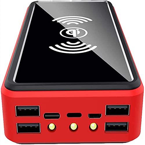 AEU Cargador Solar, 100000mAh Power Bank Portátil Inalámbrico con 4 Outputs Power Bank con USB C Carga Rápida para iPhone, iPad, Samsung,80000mAh