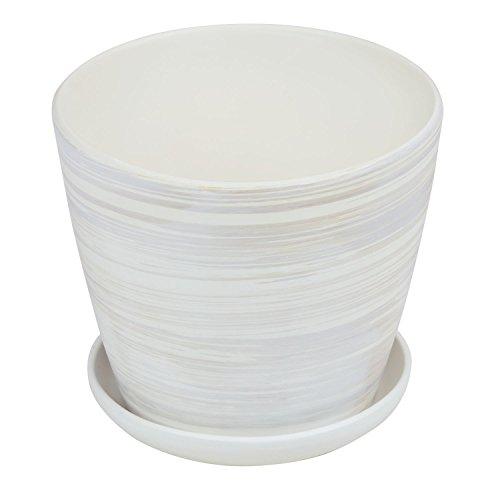 Vaso VENUS in ceramica con sottovaso, diametro 15,5 cm, colore: crema chiaro