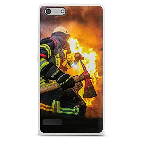 DeinDesign Silikon Hülle kompatibel mit Huawei Ascend P7 Mini Hülle weiß Handyhülle Feuerwehr Feuer Lebensretter