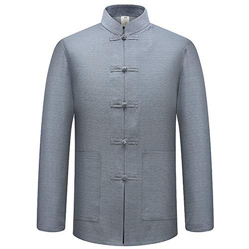 BOZEVON Tang-Anzug Langarm-Shirt für Herren - Volltonfarbe Chinesische Traditionelle Trachten Kung Fu Tai Chi Oberteile, 40/Grau