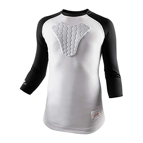 McDavid HEX Chest Protector, Heart-Guard, Sternum Protection – Raglan Style ¾ Length Long Sleeves - Padded Shirt for Baseball, Football, Lacrosse and Goalies - Youth Sizes
