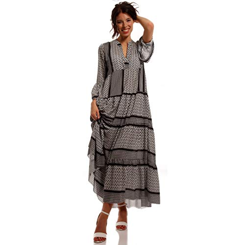 YC Fashion & Style Damen Boho Maxikleid Strandkleid Freizeit Sommer Party Kleid Hippie Kleid Plus Size Made in Italy (One Size, Schwarz /Model2)