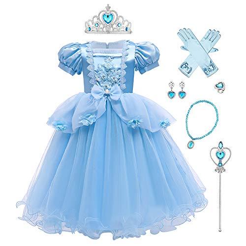 IWEMEK Costume da cenere da bambina, Sofia Aurora Cenerentola, vestito da principessa, con accessori per cosplay, Halloween, carnevale, Natale, feste #A: set Cenerentola 7-8 Anni