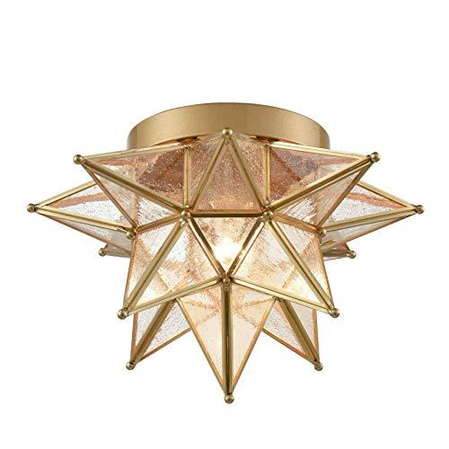 Dazhuan Brass Moravian Star Light Flush Mount Celing Lights Seeded Glass Shade Boho Moroccan Ceiling Lamp for Kitchen Foyer
