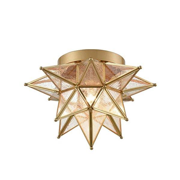 Dazhuan Brass Moravian Star Light Flush Mount Celing Lights Seeded Glass Shade Boho Moroccan Ceiling Lamp for Kitchen…