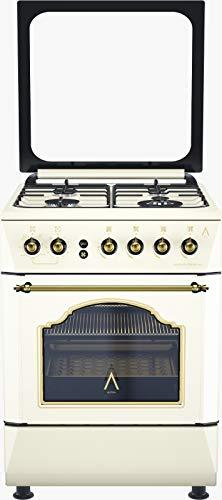 ALPHA Cocina de Gas VULCANO CREAM-60. Encendido automático y temporizador en horno. **Alta Gama**