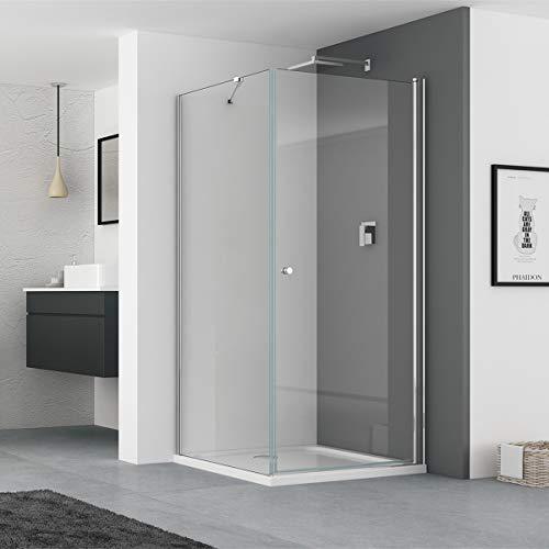 IMPTS 80 x 80 cm Eckeinstieg Duschkabine Pendeltür Duschtür mit Seitenwand Duschwand Duschabtrennung Glas aus 6mm ESG Höhe 185 cm,OHNE Duschtasse