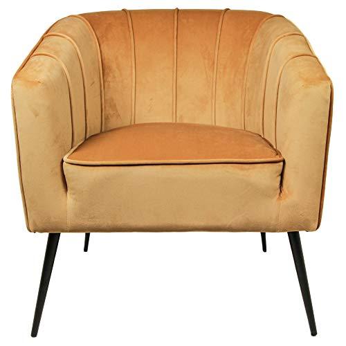 Henk Schram Lounge Sessel Chester Samt Velvet Armlehnsessel Fernsehsessel Relaxsessel (senffarben)