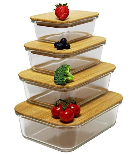 Greenable ® Frischhaltebehälter [4er Set] inkl. Rezepte eBook - Umweltfreundlicher Glasbehälter mit Deckel aus nachhaltigem Bambus - BPA-Frei - Ökologisch, hochwertig & praktisch