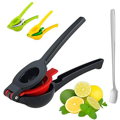 MEGASTRO lemon squeezer, manual juicer, handle press for lemon,citrus or exotic fruits with lemonade spoon, new ergonomic design - Suitable for juicing lemons, limes and oranges (midnight black)