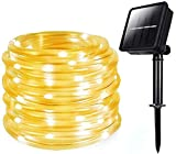 Solar Rope String Lights, MUEQU Waterproof 100 LEDs 39ft/12M Outdoor Decoration String Lights with PVC Tube Cover for Trees Patio Gardens Party Christmas Holiday Wedding (Warm White)