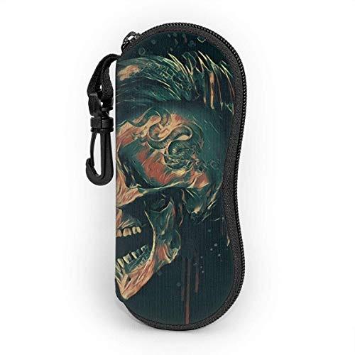 Hdadwy Gafas de sol Estuche blando Neopreno ultraligero Punk Skull Art Illustration.Rock Music Estuche para gafas con cremallera y clip para cinturón