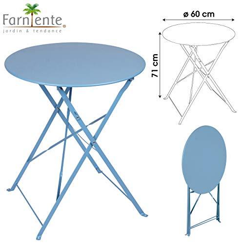 Table Ronde DE Jardin en Metal Bistro Cafe Salon Pliante Bleue Pliable Exterieur