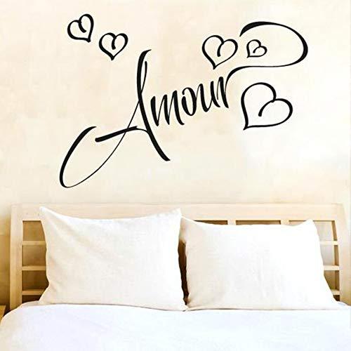 HGFDHG Amor calcomanía de Pared Palabra Francesa Vinilo Pared Pegatina Pareja Dormitorio Sala de Estar decoración del hogar Hermoso Arte de Pared