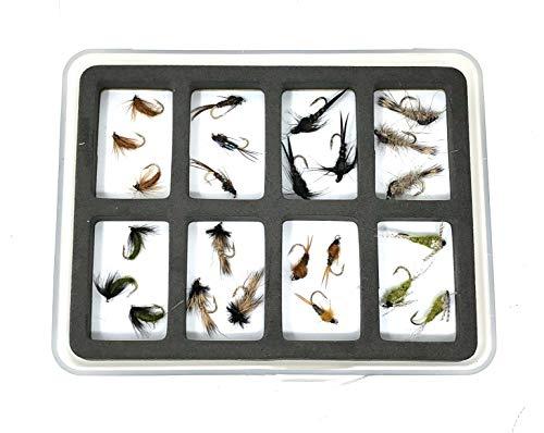 Feeder Creek Fliegenfisch-Sortiment – 24 Fliegen in 8 Mustern – Nymphen mit Fliegenbox