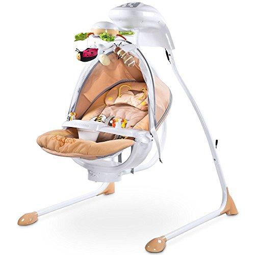 Elektrische DeLuxe Babyschaukel Modell Bugies Käferdesign 3 Schaukelrichtungen mit Musik und Geräuschen Licht Mobile verstellbarer Sitz Timer BEIGE inklusive Moskitonetz Jungen und Mädchen