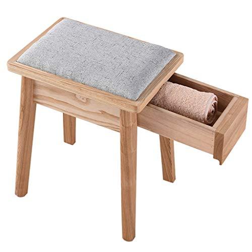 Massivholz quadratisch Ottomans Make-up Hocker Sitzhocker mit hochelastischer Schwammfüllung, Leinen Ottomans Bench Fußstütze mit Schublade Home Organization,