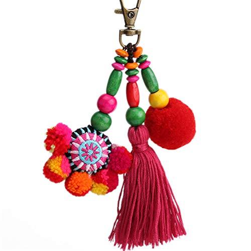 Nowbetter Quaste Pom Pom Schlüsselanhänger Boho bunte lange Fransen Anhänger Schlüsselanhänger Auto Tasche Handtasche Handarbeit Ornamente Geschenk für Frauen Mädchen, Style 2, 15 cm