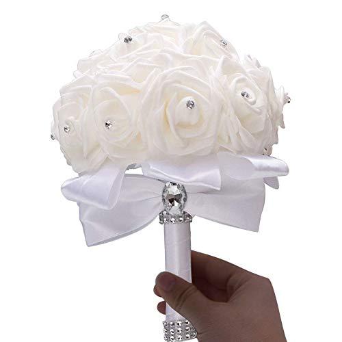 Linian Ramo de Rosas Flores Artificiales, Bouquet Nupcial de Novia de la Boda, Ramo Estilo Coreano Simulación Sostener Flor Suministros de Boda