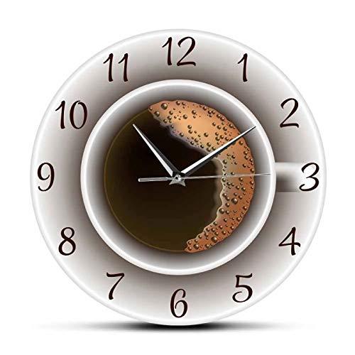 xinxin Reloj de Pared Taza de café con Espuma Reloj de Pared silencioso Decorativo Decoración de Cocina Cafetería Letrero de Pared Reloj Estilo de café Reloj de Pared Colgante