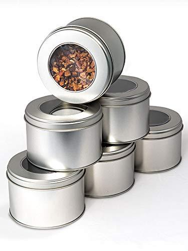TEEVERLIEBT 6er Tee- & Gewürz-Dosen-Set silber I praktische Aufbewahrung für Tee & Gewürze mit Sicht-Deckel I Tee-Behälter für losen Tee - f. ca. 150g loser Tee I Tee-Aufbewahrer 6 Stück
