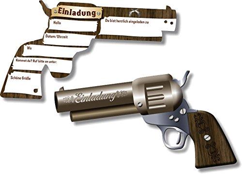 DH-Konzept 6 Einladungskarten * Pistole * für Kindergeburtstag oder Party Kinder Geburtstag Party Einladung Einladungen Karten Mottoparty Western Cowboy Indianer
