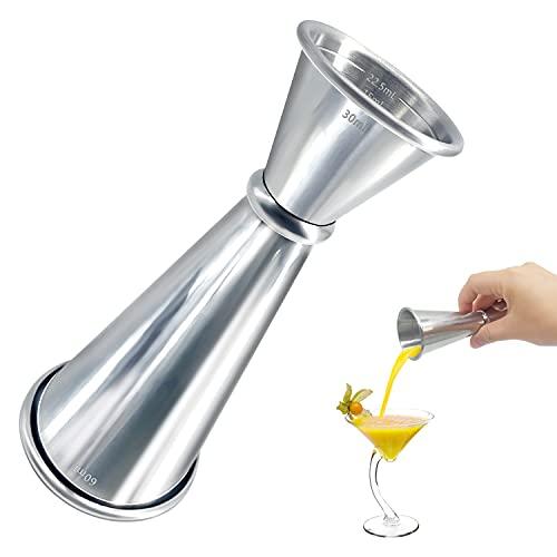 Misurino per Cocktail in Acciaio Inossidabile, Japanese Style Jigger, Jigger Barman Graduato Professionale, Bilancia Incorporata 30ml, 60ml, 15ml, 22.5ml, 45ml(Argento) (30/60ML)