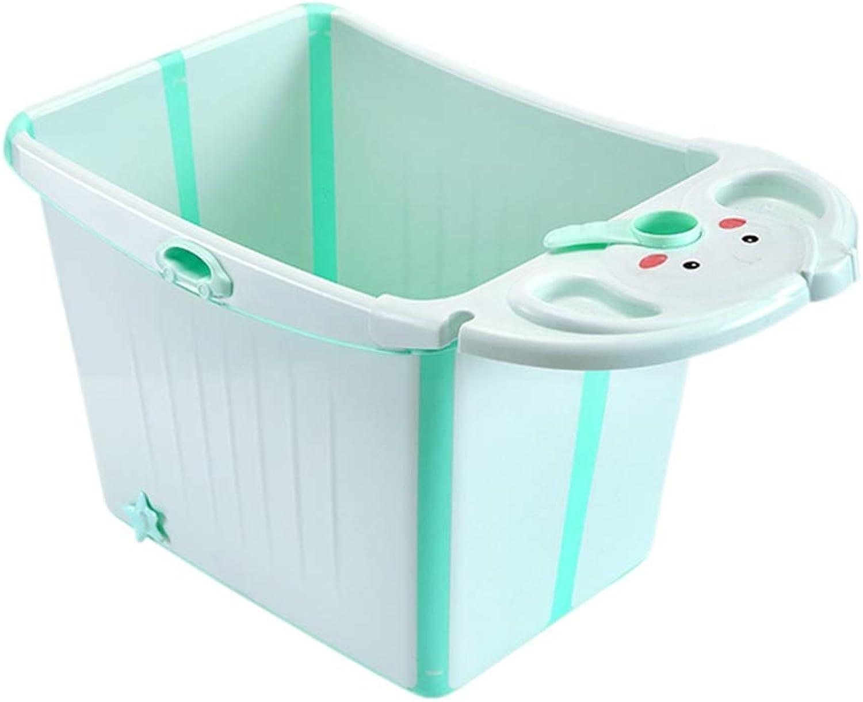 Foldable Bathing Bucket Large Bathtub Baby Bath Barrel Household Bathing Basin Can Sit Bath Barrel GW (color   Mint Green)