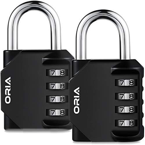 Oria 2 Pack Kombinations Zahlenschloss, 4-Stellige Anti Rost Wetterfeste Vorhängeschloss, Ideal Sicherheit Kombinationsschloss für Schule Gym Locker, Schränke, Tool Box, etc