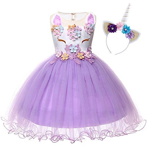 Costume da Principessa Unicorno per Bimba con Vestito Ballerina Abiti Bambini Halloween Abito con Orecchie Carnevale Festa di Primo Compleanno Cerimonia Nozze Sera Viola 12 Mesi