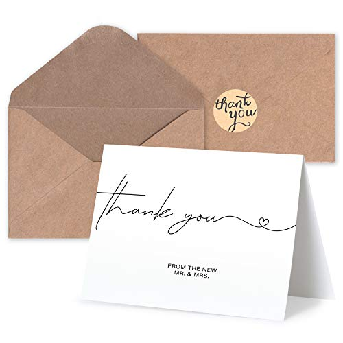 """Blank Wedding Thank You Cards - Personalized Greetings, Gratitude Letter & Wedding Thank You Cards From The New Mr and Mrs - Wedding Thank You Notes with Kraft Envelopes & Stickers - 4x6"""", 120 Pack"""
