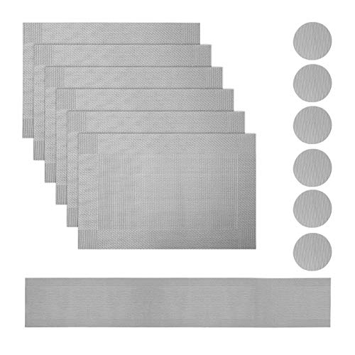 ColdShine Dining Table Mats Set Washable PVC Placemats Heat Resistant Non-slip Dining Room Table Mats Table Decoration for Kitchen Restaurant Hotel Cafe Silver