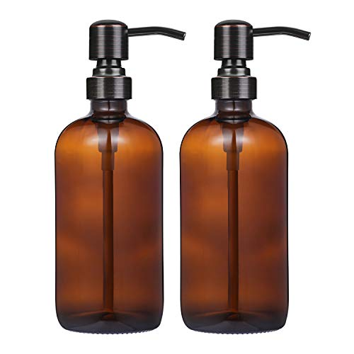 CHBKT 2 Pack Thick Amber Glass Boston Round Bottles/Oil Rubbed Bronze Stainless Steel Pumps, 16 Ounce Jar Soap Dispenser with Rustproof Pump for Essential Oil, Liquid Soap