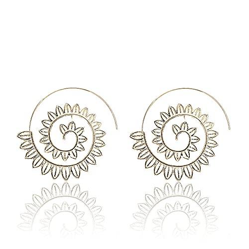 Nueva joyería étnica remolino aro pendiente para las mujeres color oro pendientes geométricos estilo steampunk declaración fiesta joyería