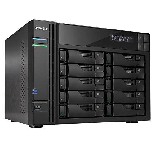 Asustor AS7010T-I5 - Dispositivo de Almacenamiento (10 Bay NAS de Sistemas, Intel Core i5, 3 GHz Quad-Core, 8 GB DDR3, GBEX 2, HDMI, SPDIF, PCI-E) Color Negro