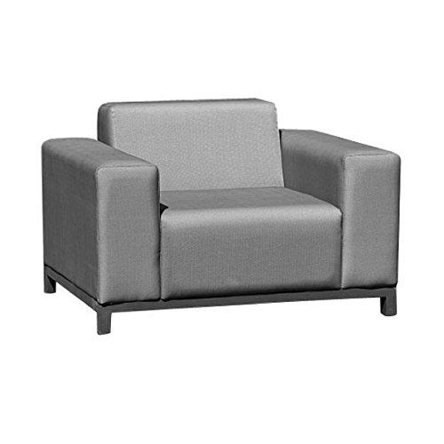 greemotion Fauteuil Lounge Dallas, Canapé Lounge Jardin en Aluminium et Textilène Résistant aux Intempéries, pour Intérieur ou Extérieur, env. 105 x 64 x 82 cm, Gris