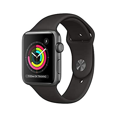 Apple – Apple Watch Series 3 (GPS), 42mm Space Gray Aluminum Case with Black Sport Band – Space Gray Aluminum