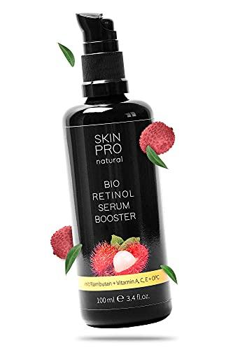 100ml Bio Retinol Serum SKIN PRO natural® mit Aloe Vera und Hyaluron, Retinol-Serum zur täglichen Gesichtspflege, Serum für Gesicht mit Retinol, Veganes Anti Aging Haut-Serum - Made in Germany