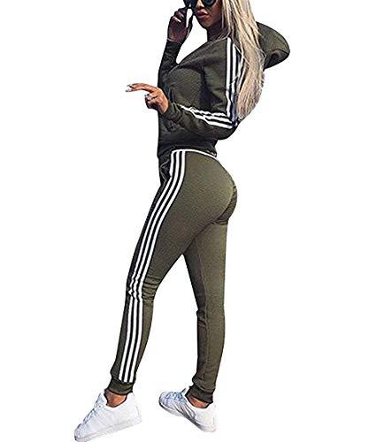 udaderas Mujer Conjunto de Chándal de Mujer Camisas Fitness Manga Larga Casual Jersey Chaqueta Hoodie&Pantalones (Verde, Large)