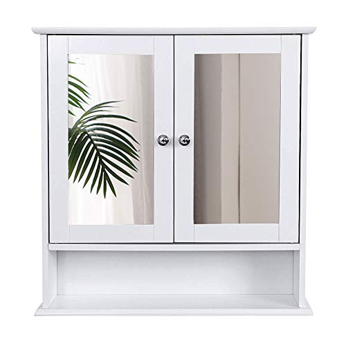 Wefun Badezimmer Spiegelschrank, Badschrank mit Spiegel Hängeschrank mit Regal Zweitüriger 56 * 13 * 58cm