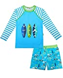Boys Swimsuit Surfing Rash Guard Toddler Kids Long Sleeve Two Piece Rashguard Bathing Suit Sets Car Swimsuit Trunks 2T