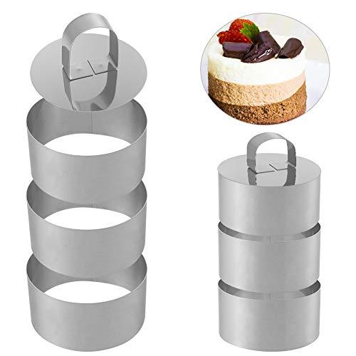 Opopark Anelli per Torte Stampo per Torta in Acciaio Inossidabile per Torte, Biscotti, Mousse e Frittelle, Set di 6 con 2 Spintori