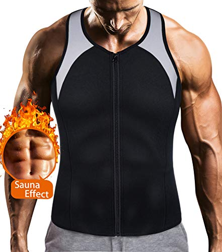 Mens Sauna Waist Trainer Corset Vest with Zipper for Weight Loss Hot Sweat Neoprene Body Shaper Gym Workout Tank Top Michigan