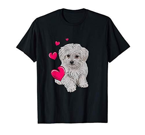 Shirt mit Malteser Hund und Herz lustiges Hundemotiv T-Shirt