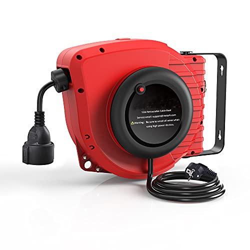 Carrete Alargador de Cable,15M + 1.5M Eléctrico Retráctil Extensión Cable,Montaje en Techo...