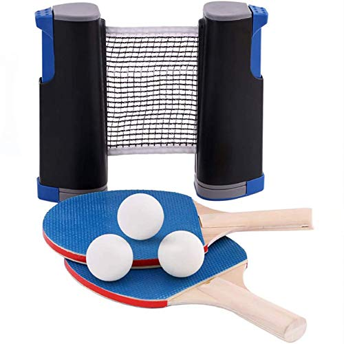 Best Review Of BeAUZQ Portable Ping Pong Paddle Set with Retractable Net Table for Anywhere 2 Table ...