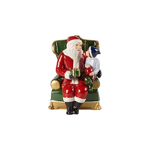 Villeroy & Boch Christmas Toy's Babbo Natale in Poltrona, Statuetta di Babbo Natale Decorativa in Porcellana Dura, Figura Collettiva, Multicolore