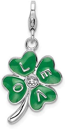 925 Sterling Silver Amore La Vita Rh Pl 3 D Enamel Swarovski Love Clover Pendant Charm Necklace product image
