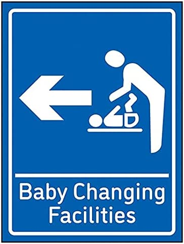 VSafety Baby Changing Facilities Arrow Left - 150mm x 200mm - Blue 1mm Rigid Plastic